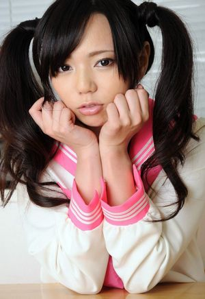 Tiny little Japanese college girl Yuria in pinkish stocking and milky underpants