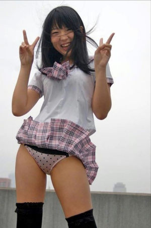 Cheery Teenage Japanese honey in the milky undies